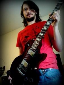 Gavin Dunne holding his Gibson Les Paul