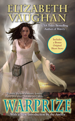 The 2011 re-issue cover of Warprize by Elizabeth Vaughan