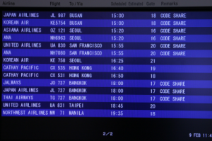 An airport flight schedule.