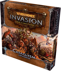 The box of the Cataclysm expansion for the Warhammer Invasion card game.