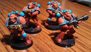 Four Tactical Space Marines looking about how I want them.