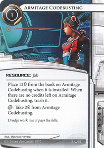The Armitage Codebusting card, from Android Netrunner