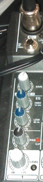 LINE 1 panel of Behringer Xenyx 502 mixing board.