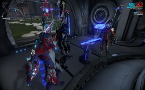 My Warframe avatar (far left) with three other Tenno of Clan Kagaku.