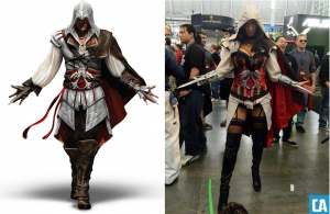On the left, Ezio Auditore da Firenze, lead character from Assassin's Creed II. On the right, The Vixen Gamer's 2012 gender-flipped Ezio cosplay.