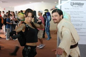The Vixen Gamer cosplaying Lara Croft at Supanova 2012, with an unidentified cosplayer as Obi Wan Kenobi.